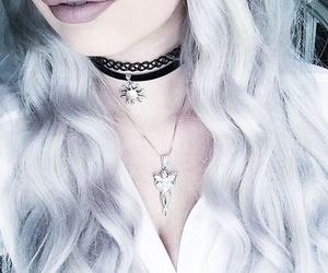 choker, gray, and hair image