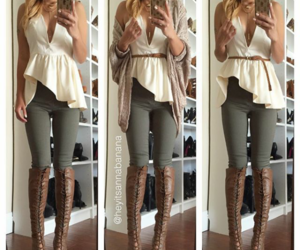 boots, brown, and white image