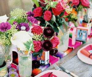 flowers, table, and table setting image