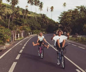 couple, summer, and bike image
