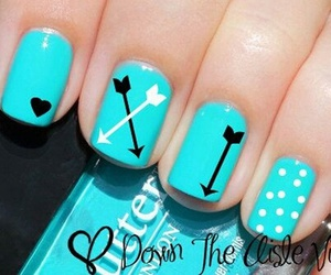 nails, blue, and arrow image