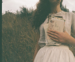 girl, letters, and vintage image