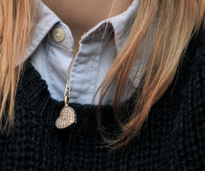 fashion, necklace, and pullover image