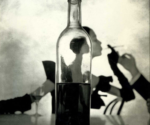 black and white, bottle, and cigarette image