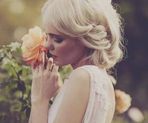 blonde, flower, and love image