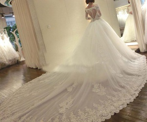 bride, lace, and wedding dress image