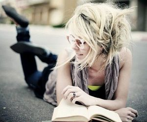 blonde, woman, and book image