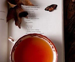 autumn, tea, and book image
