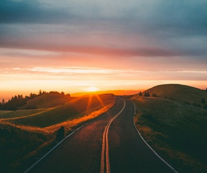 road, sunset, and nature image