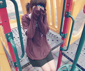 girl, playground, and nails image
