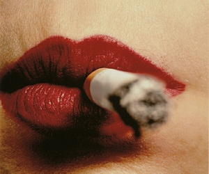 cigarette, lips, and red image