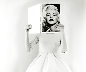 black and white, dress, and book image