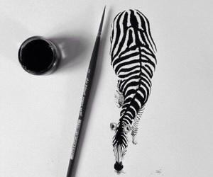 art, zebra, and drawing image