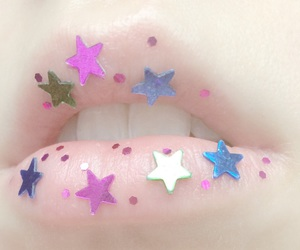 lips, pale, and stars image