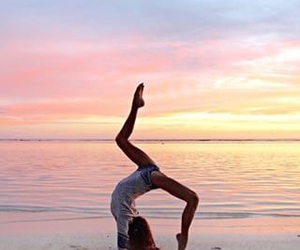 beach, sunset, and yoga image