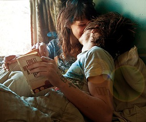 bed, book, and cuddle image