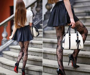 fashion, high heels, and lace tights image