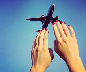airplane, fly, and hands image