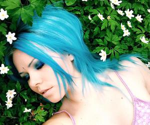 blue, cyan, and hair image