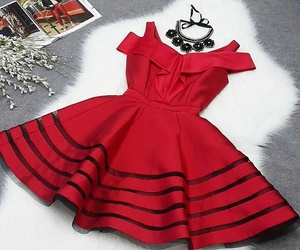 red dress fashion outfit image