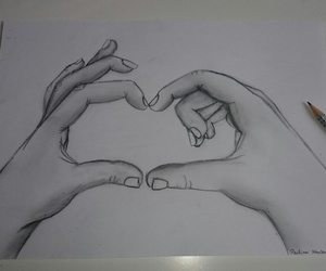 art, black&white, and hands image