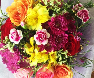 bouquet, colourful, and flowers image