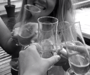 black and white, champagne, and girl image