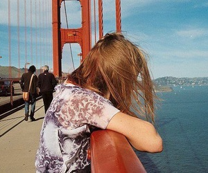 girl, bridge, and vintage image
