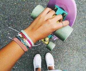 girl, fashion, and skate image