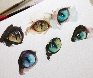 art, cat, and eyes image