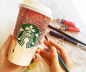 starbucks, art, and coffee image