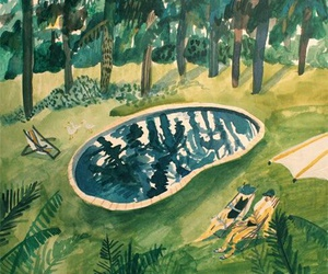 swimming pool, forest, and illustration image