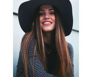 girl, hat, and smile image
