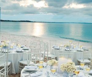 beach, dinner, and sea image