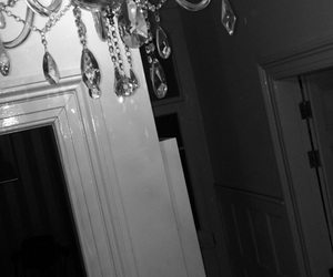 black and white, chandelier, and own pic image