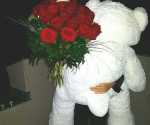 love, rose, and teddy image