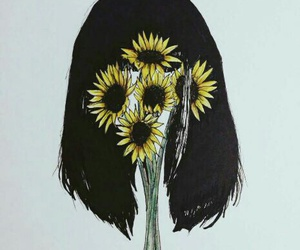 flower, hair, and sadness image
