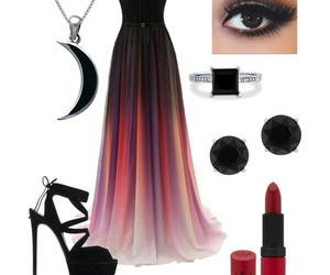 black, dress, and rainbow image