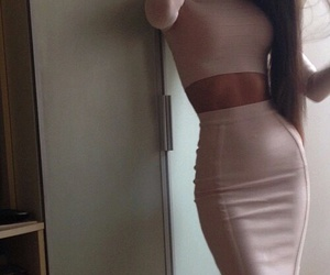 beige, Nude, and pencil skirt image