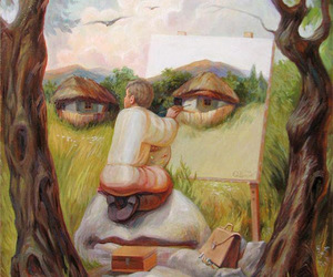 landscape, artist painting, and big face. image