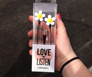flowers, music, and earphones image