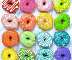 donuts, food, and rainbow image
