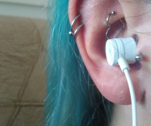 turquoise hair, rook piercing, and helix piercing image