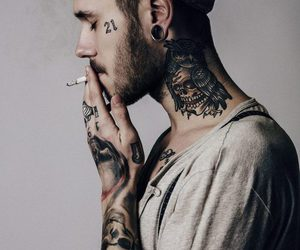 tattoo, boy, and smoke image