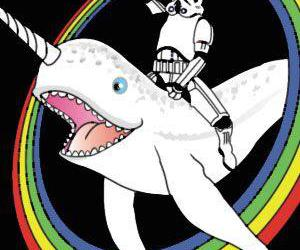 narwhal, rainbow, and star wars image