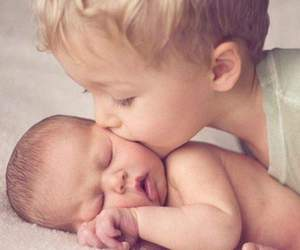 baby, brothers, and kiss image