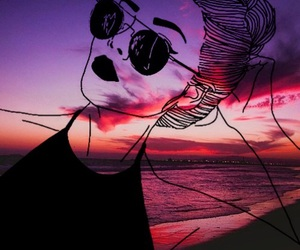 girl, outline, and sunset image