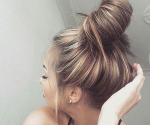 blonde, hairstyle, and buns image