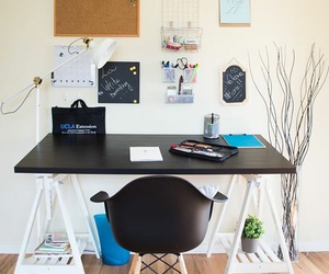 chair, decor, and desk image