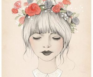 drawing, floral, and silver hair image